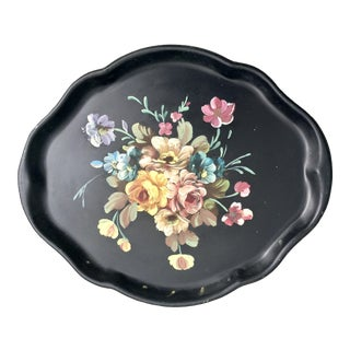 Vintage Scalloped Tole Floral Hand-Painted Tray For Sale
