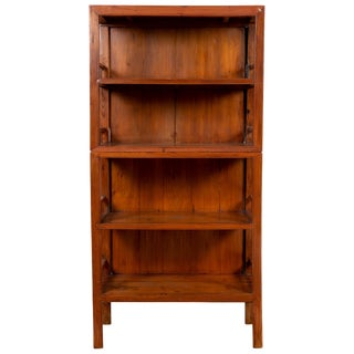 Vintage Chinese Two-Part Elmwood Bookcase With Pillar-Shaped Strut Motifs For Sale