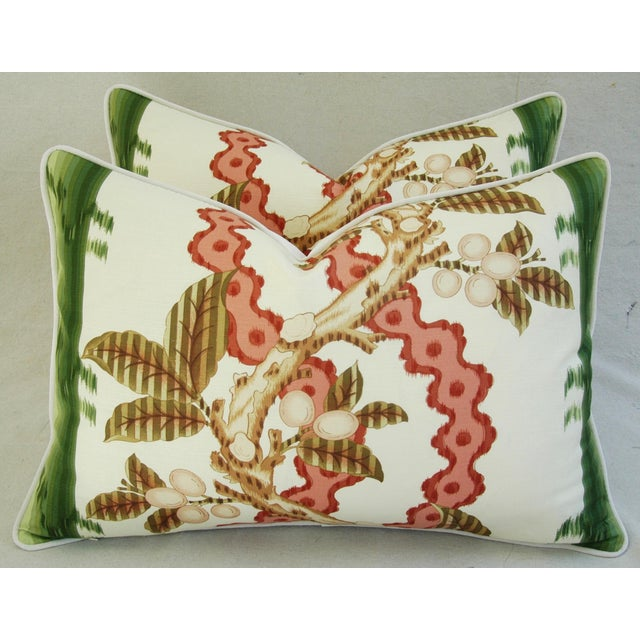 "Cotton Brunschwig & Fils Josselin Feather/Down Pillows 26"" X 18"" - Pair For Sale - Image 7 of 10"