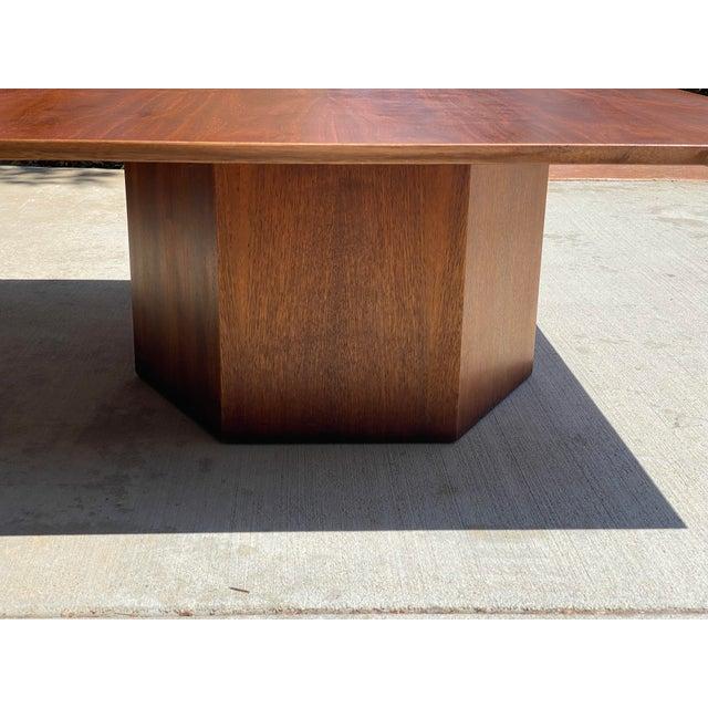 Mid-Century Modern Mid-Century Danish Modern Walnut Square Coffee Table Octagonal Base For Sale - Image 3 of 11