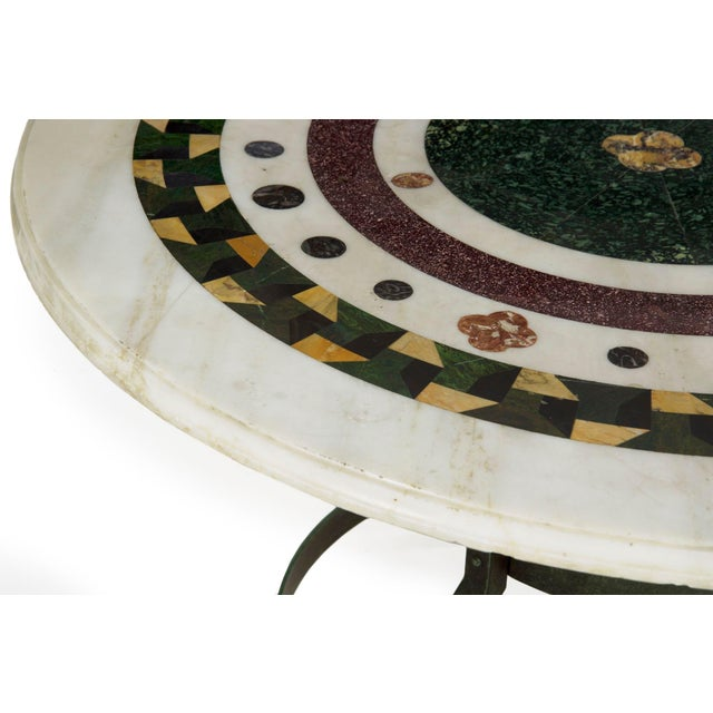 19th Century Italian Neoclassical Antique Pietra Dura Center Table W/ Bronze Base For Sale - Image 5 of 11