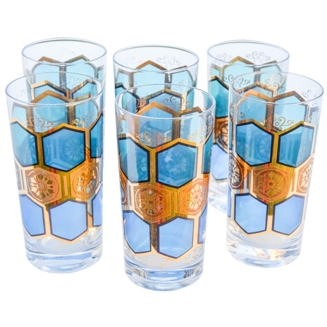 Midcentury Gold-Patterned Highballs, S/6 For Sale - Image 4 of 5