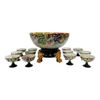 Antique Limoges Porcelain Punch or Center Bowl on Stand & 12 Goblets - Set of 14 For Sale