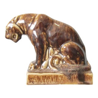 Vintage Drip Glaze Panther Bookend For Sale
