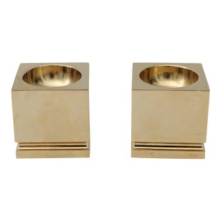 1980s Gold Plated Candle Holders - A Pair For Sale