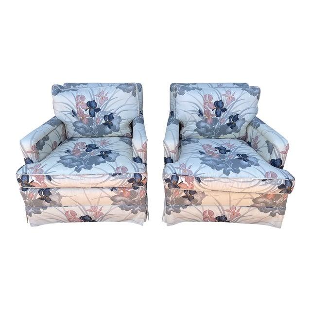 80s Designer Fabric Custom Arm Chairs For Sale