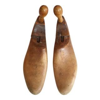 1900's Antique Wood Shoe Forms - A Pair For Sale