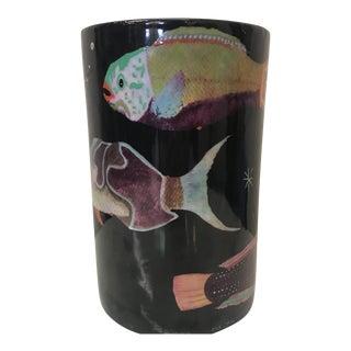 Fabienne Jouvin Hand PaintedTropical Fish Vase For Sale