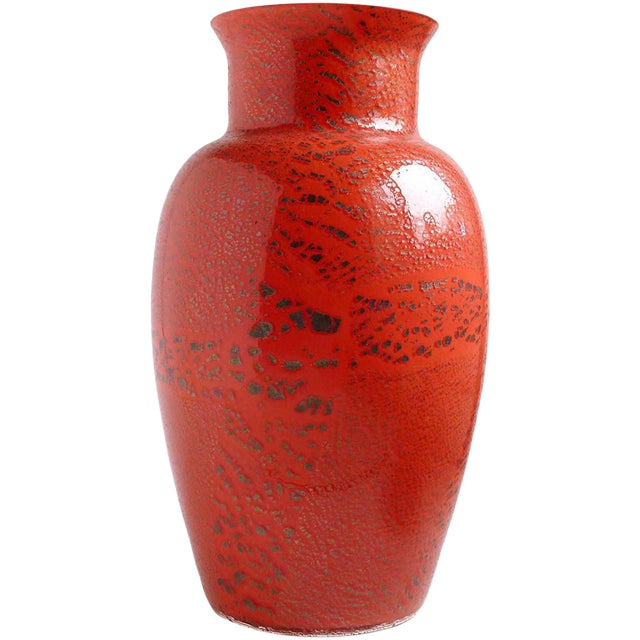 Murano Red Applied Heavy Silver Leaf Italian Art Glass Flower Vase For Sale