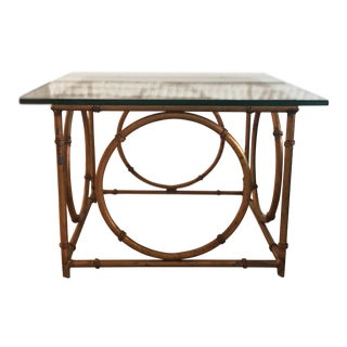 1950s Boho Chic Brass Bamboo Side Table For Sale