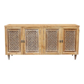 Lime-Washed Mehrangarh Jali Carved Sideboard For Sale