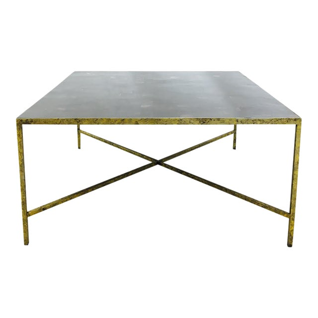 Parquet Steel Coffee Table: Horn Parquet Top Coffee Table With Gold Leaf Metal Base