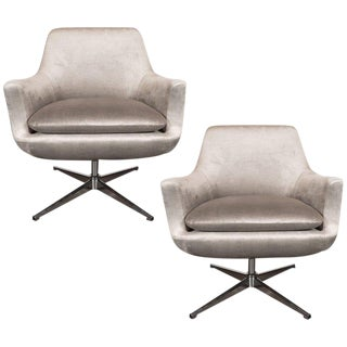 Pair of Mid-Century Modern Chrome and Smoked Pewter Velvet Swivel Chairs