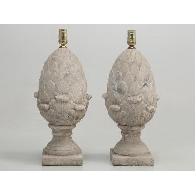 Artichoke Faux Stone Lamps - a Pair For Sale - Image 11 of 11