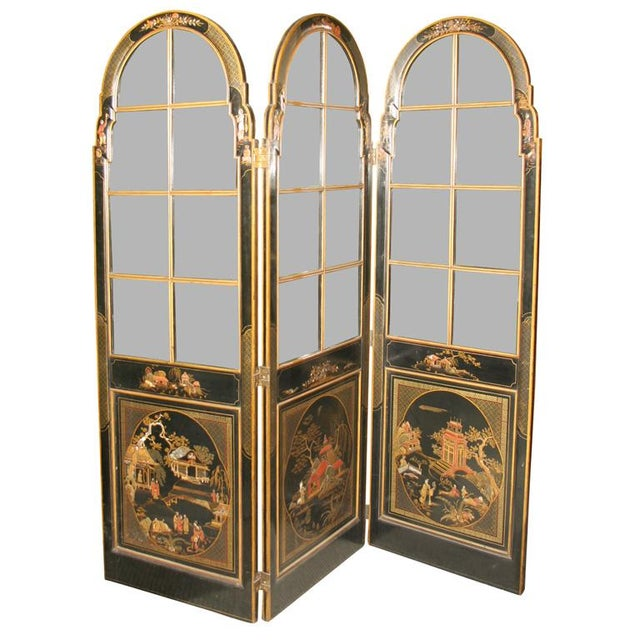 Jansen 3-Panel Chinoiserie Glass Screen - Image 1 of 9