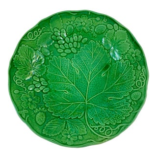 English Majolica Green Strawberry & Grape Leaf Plate For Sale