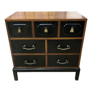 Asian Influenced Three Drawer Chest + Brass Handles For Sale