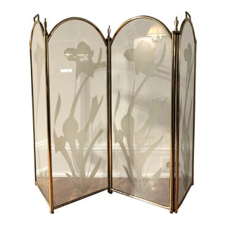 Vintage Mid Century Hollywood Regency 4 Panel Brass Etched Glass Fireplace Screen For Sale