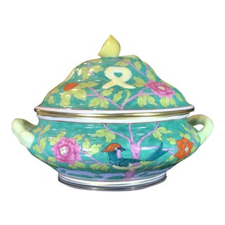 Macao Green Herend Hand Painted Mini Tureen For Sale