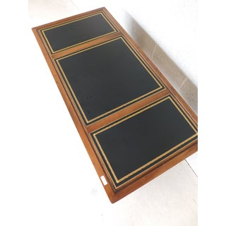 """Sligh Campaign Faux Bamboo 3 Part Tooled Leather Top Desk 54""""w Preview"""