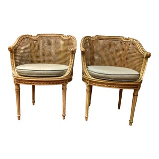 Louis XVI Style Caned Boudoir Chairs a Pair For Sale