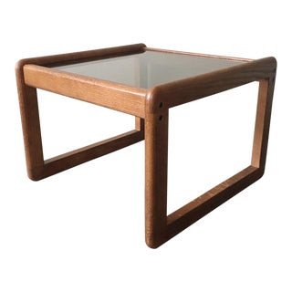 Vintage Mid Century Modern Smokey Glass End Table For Sale