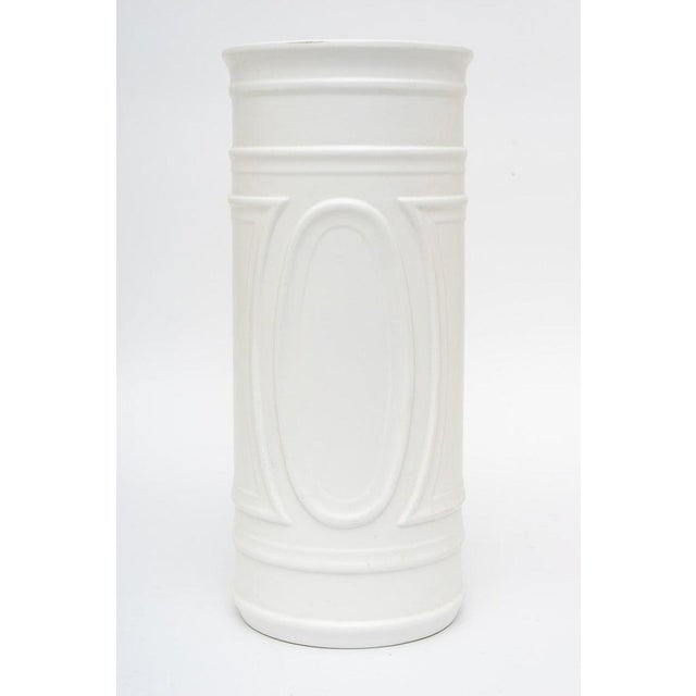 1960s White Umbrella Stand in Glazed Pottery For Sale - Image 9 of 9