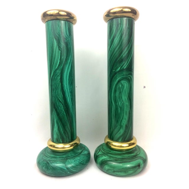 Vintage Piero Fornasetti Style Faux Malachite Candle Holders - A Pair - Image 3 of 8