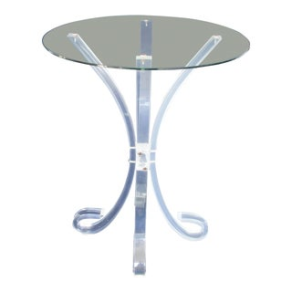 1970s Space Age Glass Top Lucite Table For Sale