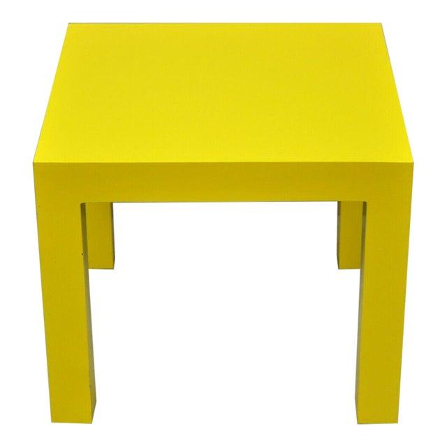 1970s Vintage Thayer Coggin Milo Baughman Yellow Parsons Style Laminate End Table For Sale