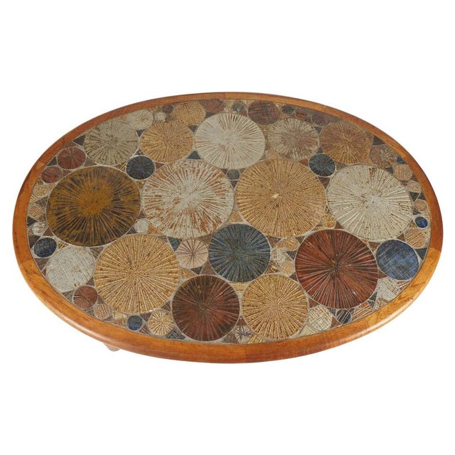 Teak Tue Poulsen Ceramic Art Tile Coffee Table by Haslev 1960s Made in Denmark For Sale - Image 12 of 12