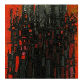Constantine Pougialis, Large and Vibrant Abstract Oil Painting For Sale