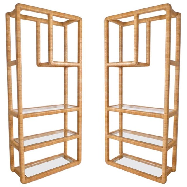 Really great solidly built pair of rattan wrapped shelving units which can either mirror one another if desired. The front...
