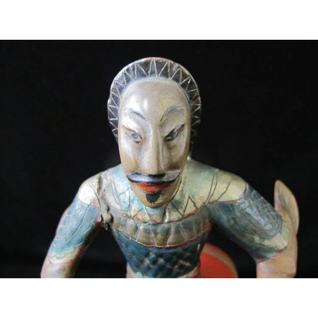 Early 20th Century Chinese Figural Lacquerware Figurine Man on Horse W/Finely Carved Rosewood Stand For Sale In Portland, OR - Image 6 of 9