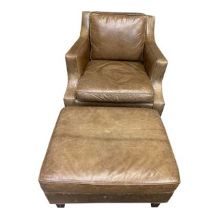 Mid-Century Modern Leather Craft Leather Chair and Ottoman-a Pair For Sale