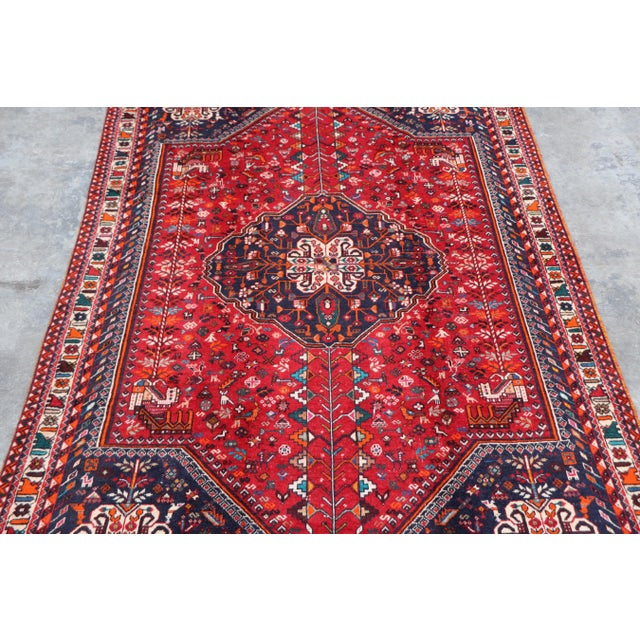 "Blue 1970's Persian Qashqai Area Rug-6'4'x9'4"" For Sale - Image 8 of 10"