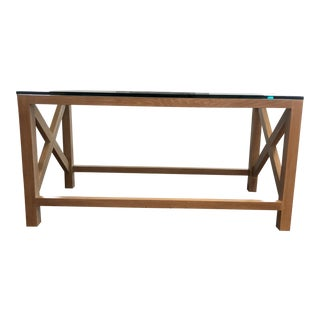 1970s Mid-Century Modern Jansen Oak Console Table With Glass Top For Sale