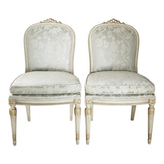 Louis XVI Style Pale Blue Chinoserie Print Side Chairs - a Pair