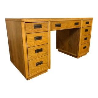 Vintage Parquet Top Oak Writing Desk For Sale