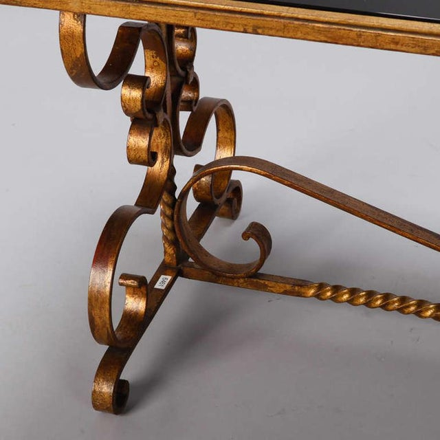 Gold Italian Gilt Iron and Black Glass Cocktail or Coffee Table For Sale - Image 8 of 8