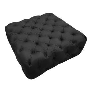 Shadow Tufted Leather Ottoman For Sale