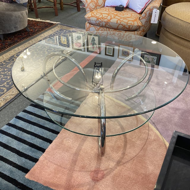 Mid-Century Modern Mid 20th Century Glass & Polished Chrome Coffee Table For Sale - Image 3 of 12