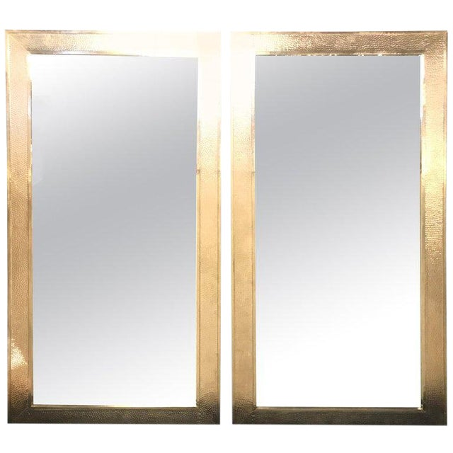 1990s Mid-Century Modern Brass Wall/ Floor Mirrors - a Pair For Sale