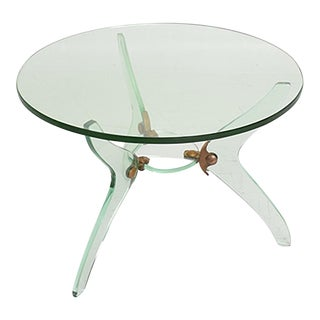 Glass and Bronze Coffee Table Attributed Fontana Arte Italian Mid-Century Modern