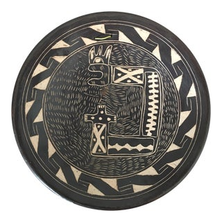 Vintage Abstract Sgraffito Pottery Plate For Sale