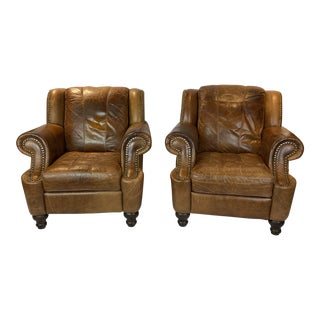 English Leather Club Chairs - a Pair For Sale