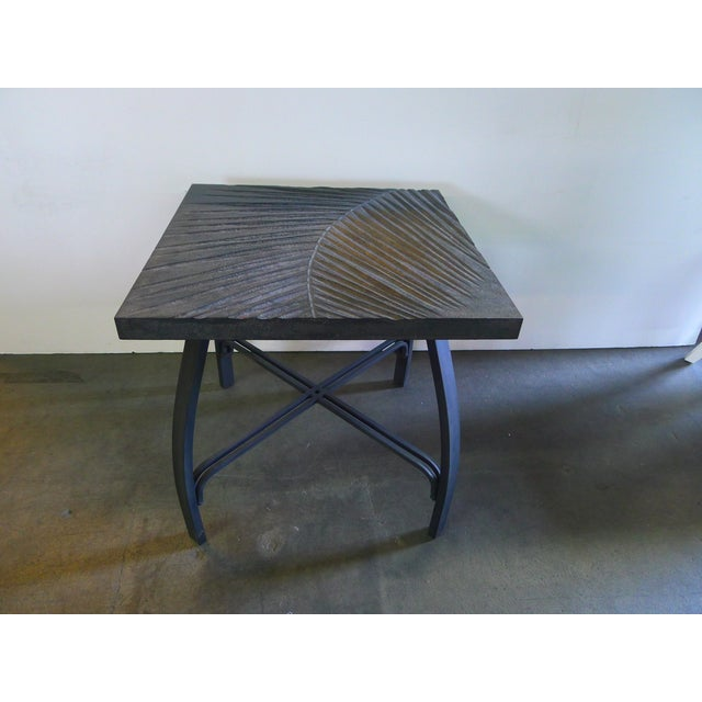 Slate Gray Hand Carved Fossil Table For Sale - Image 8 of 8