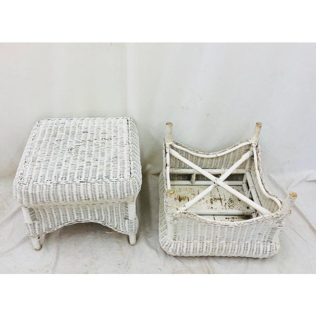 Wicker Pair Vintage Woven Wicker Ottomans For Sale - Image 7 of 10