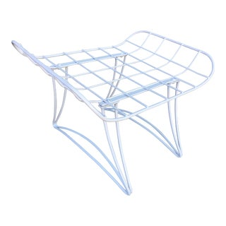 Mid-Century White Wireframe Ottoman by Homecrest For Sale