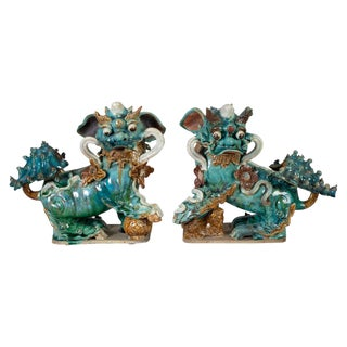 Pair of Chinese Ceramic Buddhistic Lions For Sale